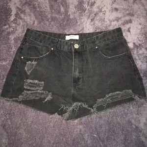 Forever 21 distressed black shorts